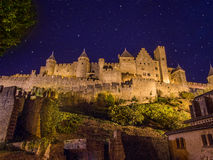 Medieval city of Carcassonne, France. At night lit by floodlights Royalty Free Stock Images