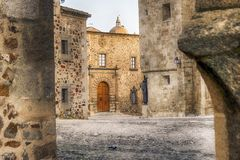 Medieval city center of caceres spain Royalty Free Stock Photo