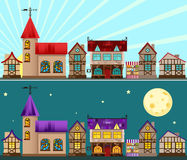 Medieval city day and night Royalty Free Stock Photo