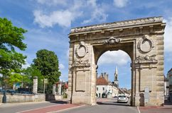 Medieval city gate, Beaune, France Stock Images