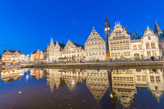 Medieval city of Gent along canal, Belgium Royalty Free Stock Photo