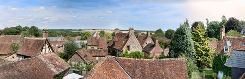 The medieval city of Gerberoy in France. Panorama on the roofs of the medieval city of Gerberoy in Picardy in France Royalty Free Stock Photography
