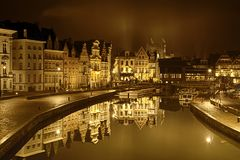 Medieval city of Ghent Graslei and Korenlei Royalty Free Stock Photo