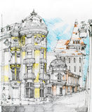 Medieval city illustration drawn in pencil Stock Photos