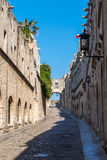 Rhodes old town, Avenue of the Knights. Medieval City of Rhodes, Greece, Avenue of the Knights Royalty Free Stock Image