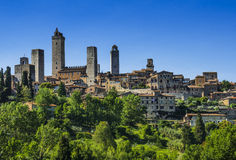 San Gimignano, Tuscany. Medieval city of San Gimignano in Tuscany, known for aged skycrapers towers. Landmark of Italy royalty free stock photos