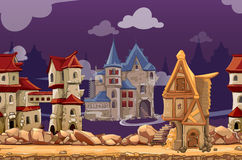Medieval city seamless landscape vector background. Medieval city seamless landscape background for computer game. Interface panoramic, gui city or town, vector vector illustration
