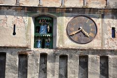 Medieval city. The medieval city, Sighisoara, the clock from the Clock Tower Royalty Free Stock Photos