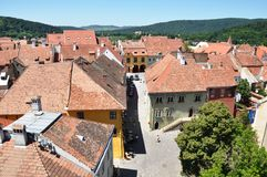 Medieval city. The medieval city, Sighisoara, the view from the Clock Tower Stock Photography