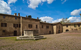 Medieval city square in Tuscany, Italy, Europe Royalty Free Stock Photography