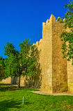 The medieval city walls. The old walls surrounding Medina boast many square towers with battlements on their tops, Sousse, Tunisia Stock Photo