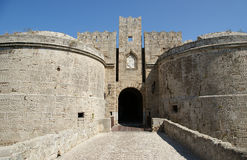 Medieval city walls in Rhodes town Stock Image