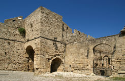 Medieval city walls in Rhodes town Royalty Free Stock Images