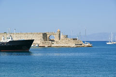 Medieval city walls in Rhodes town Royalty Free Stock Photography