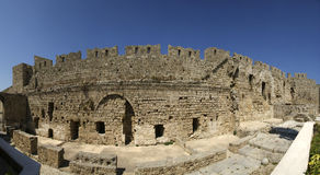 Medieval city walls in Rhodes town, Greece Stock Images
