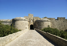 Medieval city walls in Rhodes town, Greece Stock Photos