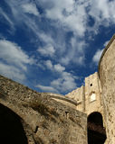Medieval city walls in Rhodes town, Greece Royalty Free Stock Photos