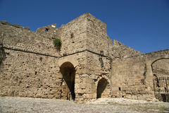 Medieval city walls in Rhodes town, Greece Royalty Free Stock Images