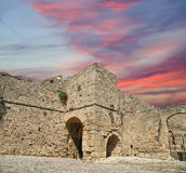 Medieval city walls in Rhodes town, Greece Royalty Free Stock Image