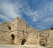 Medieval city walls in Rhodes town, Greece Stock Photography