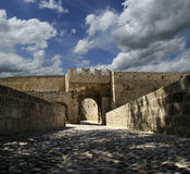Medieval city walls in Rhodes town, Greece Royalty Free Stock Photo