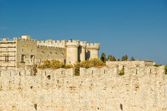 Medieval city walls in Rhodes town, Greece Royalty Free Stock Photography