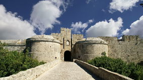 Medieval city walls in Rhodes town, Greece  time lapse stock video