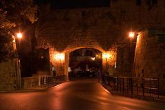 Medieval city walls in Rhodes town (night) Stock Image