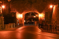 Medieval city walls in Rhodes town (night) Royalty Free Stock Photos
