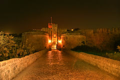 Medieval city walls in Rhodes town (night) Royalty Free Stock Images