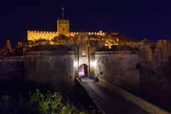 Medieval city walls in Rhodes town night , Greece. Medieval city walls in Rhodes town night stock images