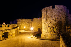 Medieval city walls in Rhodes town night , Greece Stock Image