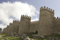 Medieval city walls and towers of Ávila Stock Photos