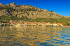 Medieval cityscape and harbour,Makarska,Croatia,Europe. Medieval cityscape,harbour and Biokovo mountains,Makarska,Croatia,Europe Royalty Free Stock Images