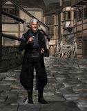 Medieval clergy man walking Royalty Free Stock Images