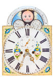 Medieval clock face with painting of baby Stock Photo