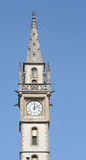 Medieval clock tower. Picture taken in Ghent, a well preserved medieval city in Belgium, Europe stock image
