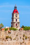 Medieval Clock Tower in Rhodes. Medieval Clock Tower in the city of Rhodes in Rhodes island in Greece stock photography