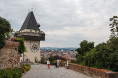 Medieval clock tower on the hill Royalty Free Stock Photos