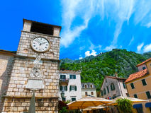 Medieval clock tower in Kotor in a beautiful summer day Royalty Free Stock Photography