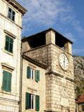 Medieval clock tower(Kotor, Montenegro) Stock Photos