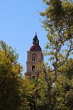 Medieval clock tower in Rhodes, Greece Stock Photos
