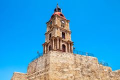 Medieval Clock Tower in Rhodes. Medieval Clock Tower in the city of Rhodes in Rhodes island in Greece royalty free stock images