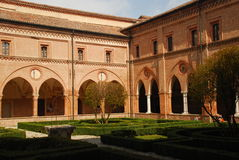 Medieval cloister, Polirone abbey, Italy Royalty Free Stock Image