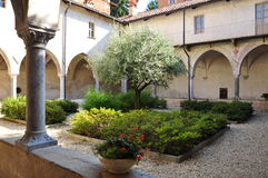 Medieval cloister, Saluzzo, Italy Stock Images