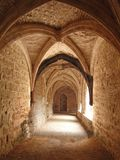 Medieval cloister with vaulted arches Stock Photography