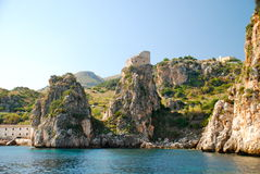 Medieval Coastal Tower in Scopello, Sicily Stock Photos