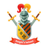 Medieval coat of arms with knight helmet Stock Photos