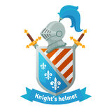 Medieval coat of arms with knight helmet Stock Photo