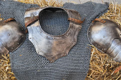 Medieval coat of mail and shoulder protector Stock Images